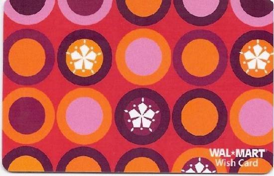Walmart Collectible Gift Card - Red Mod Circles & Snowflakes VL4066