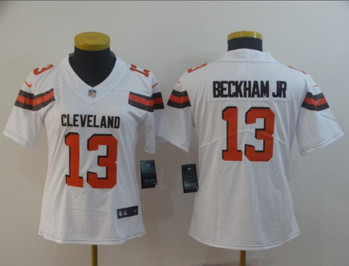 new concept a1f8f 6b5ea Odell Beckham jr #13 Cleveland Browns Limited Player Jersey Women's White  Size S