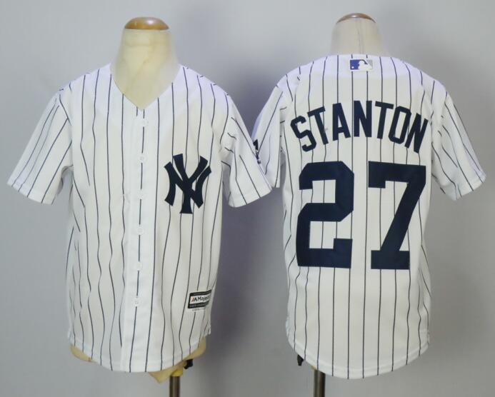 3b7b82890b5 Youth Kids York Yankees Jersey  27 Giancarlo Stanton White Cool Base Jersey