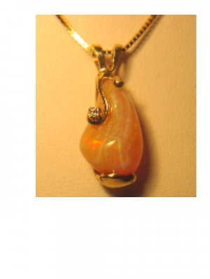 Mexican Fire Opal and Diamond Pendent