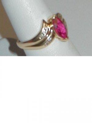 Rhodilite and Diamond Ring