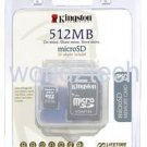 New Kingston 512MB Micro SD Card with SD Card Adapter - Retail