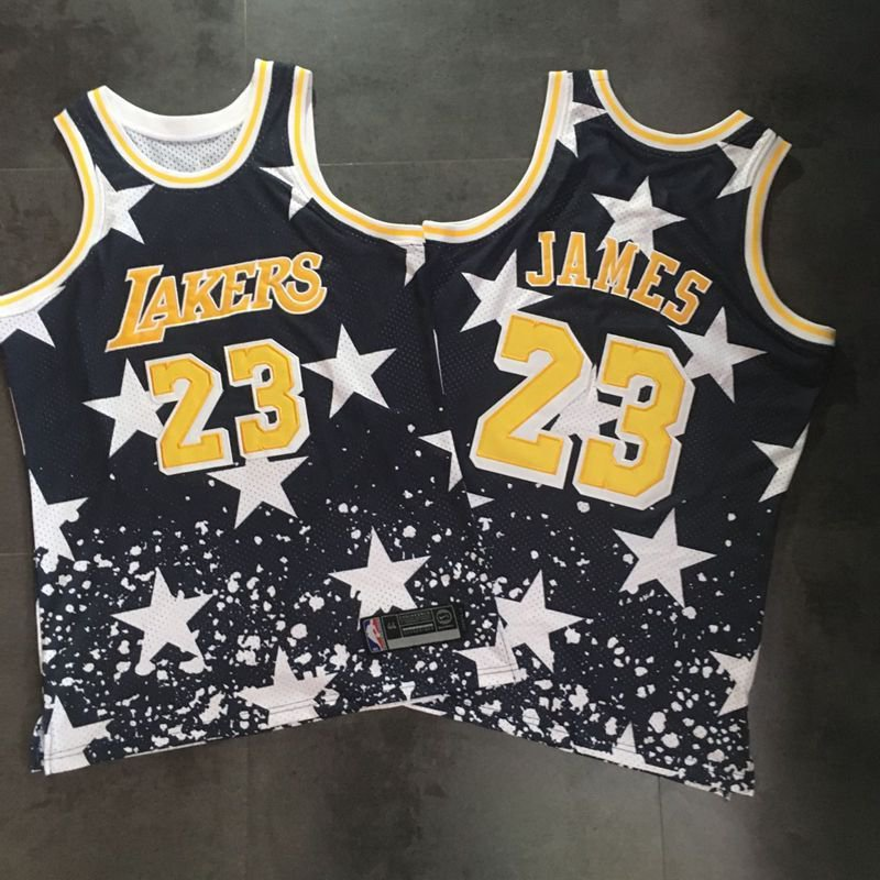 c972e4b47cec New Men s Lakers  23 LeBron James Navy Throwback 1997 4th of July Stitched  NBA Jersey