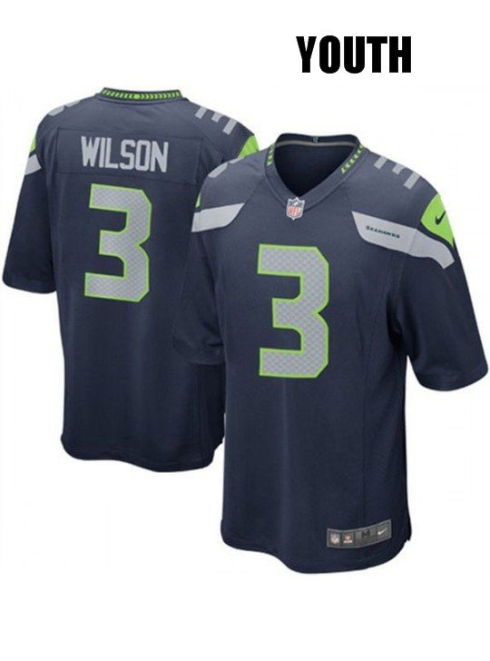 c81f3a6ae YOUTH SEATTLE SEAHAWKS #3 RUSSELL WILSON BLUE JERSEY