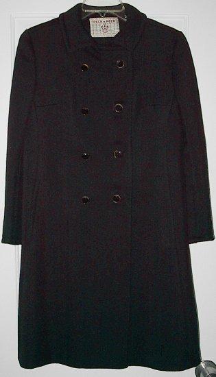 Vintage '60's Peck & Peck Heavy Black Winter Coat