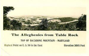 Alleghenies from Table Rock, Maryland, Kodak Photo Post Card