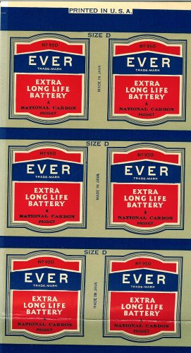 Old Eveready Battery Ever Extra Long Life Battery Sheet of Labels