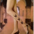 HiBaly Flocked with Rhinestones Black Butterfly Pantyhose