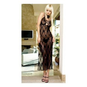 Leg Ave. Black Lace Long Criss Cross Gown G-String