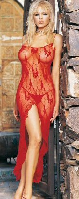 Leg Avenue 2pc Red Butterfly Lace Long Gown with slit and G-String