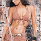 2PC. Faux Suede Tie Front Bikini Top with Lace Up Short