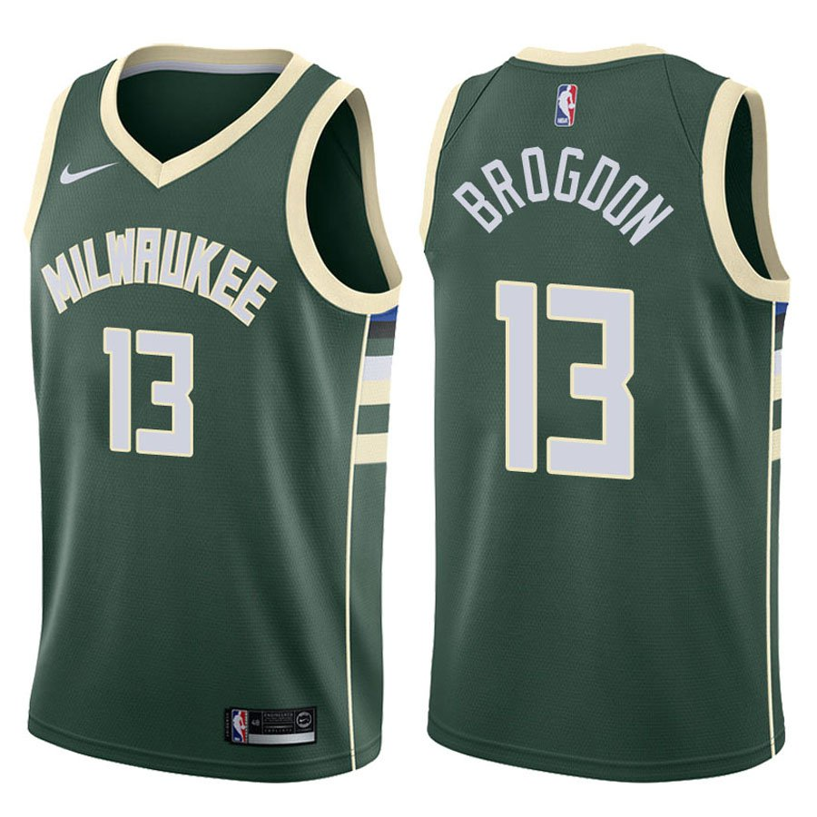 Bucks Malcolm Brogdon Green Icon Stitched Jersey