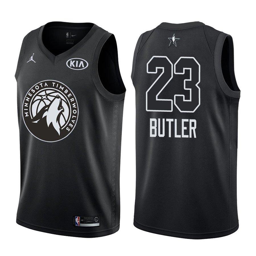 2018 All-Star Minnesota Timberwolves Jimmy Butler  23 Black Jersey a51074811