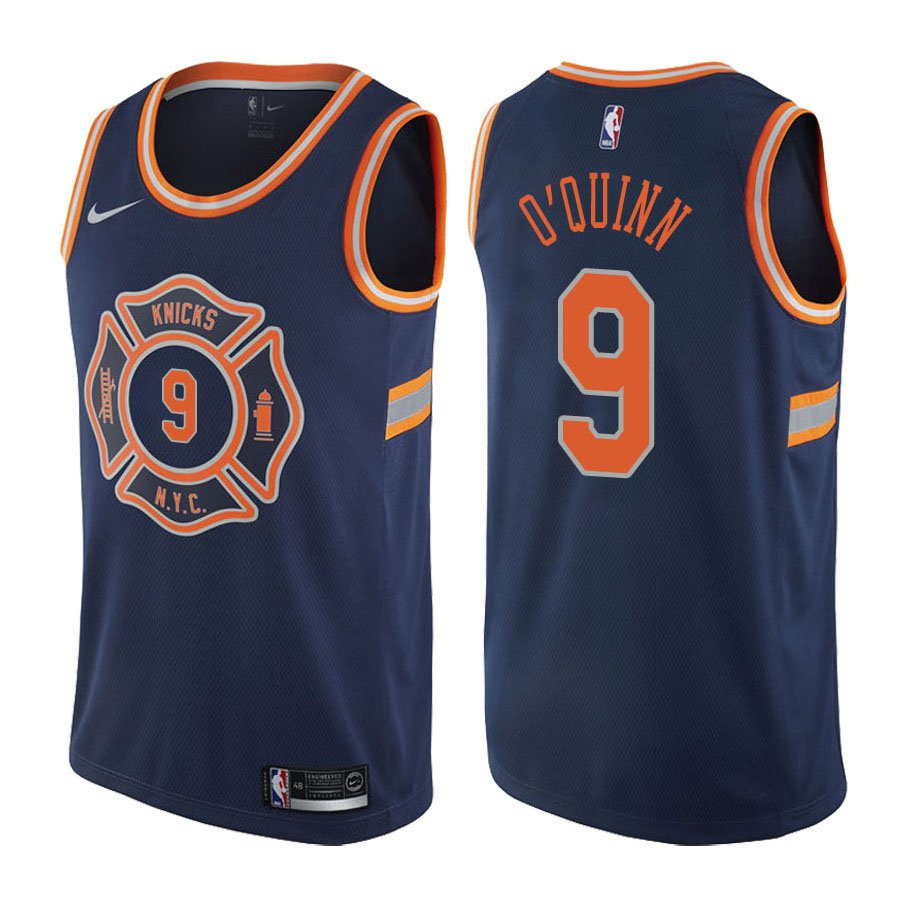 2a26151df New York Knicks Kyle O Quinn  9 Navy City Edition Stitched Jersey