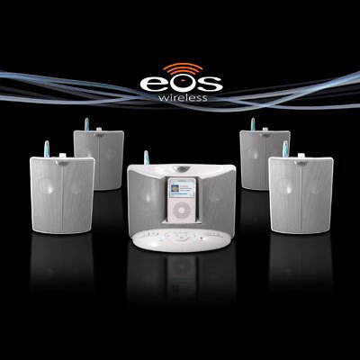 EOS 100T1R Wireless Audio System with Universal iPod Docking Base and Remote Speaker (White)
