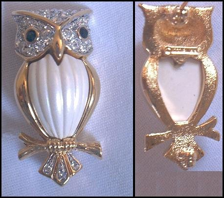 D'Orlan Gold Enamel/Swarovski Owl on a Branch Brooch