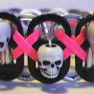 SKULL: Black & Hot Pink Pop-Tab Bracelet (X)
