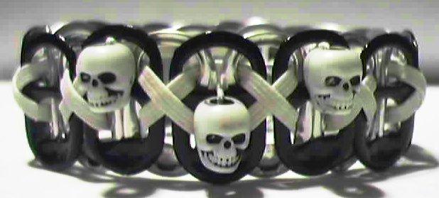 SKULL: Black & GID Pop-Tab Bracelet (X)