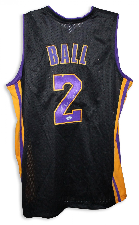 8b2236b5f Lonzo Ball Autographed Black Jersey Los Angeles Lakers