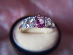 5-Stone Amethyst & Blue Topaz 10K Gold Ring. MSRP: $239.00