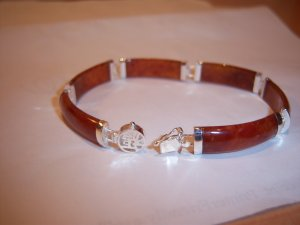 Red Jade & .925 Sterling Silver Bracelet
