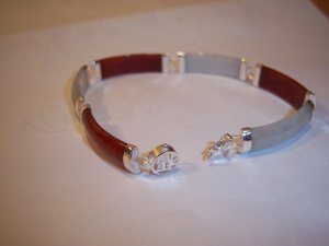 Red & White Jade .925 Sterling Silver Bracelet