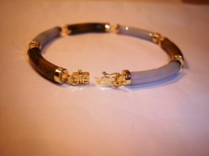 Genuine Tigers Eye & White Jade 14K Yellow Gold Bracelet. MSRP: $250.00. YOU SAVE $150.00