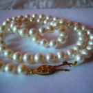 White Pearl Strand Necklace w/10k Gold Clasp. MSRP: $195.00