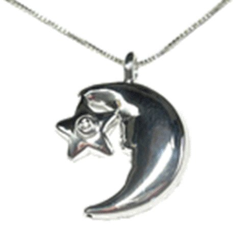 Sterling Silver Moon/Star Diamond Pendant