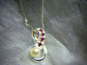 Sterling Silver Ruby and pearl pendant