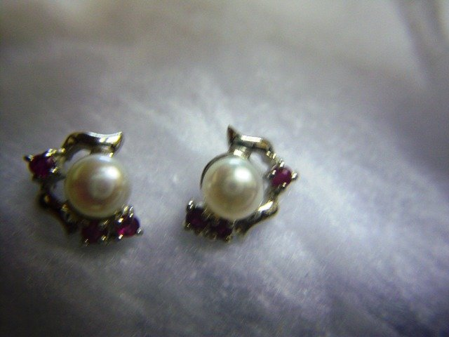 Platinum Over Sterling Ruby & Pearl Earrings. (Click photo for Euro price).