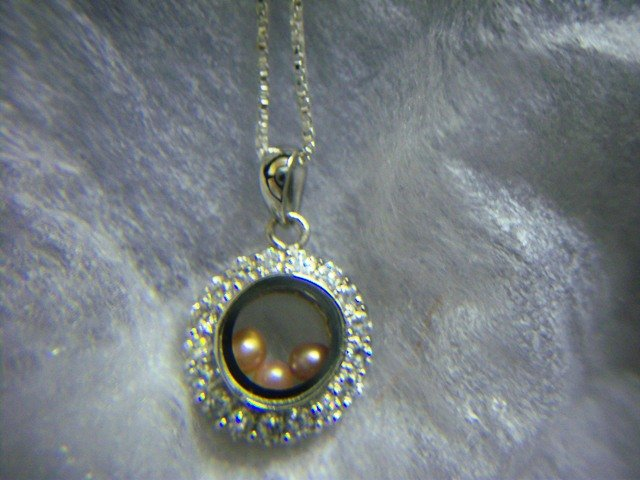 Sterling Silver Round Floating Pearls Pendant