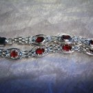 Sterling Silver Handmade Link Bracelet with Genuine handset Garnet gemstone.