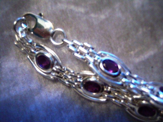 Sterling Silver Handmade Bracelet with Amethyst gemstones.