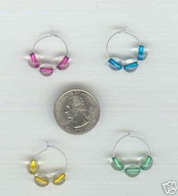 4 Silvertone Triple Glass Beaded Wine Glass Charms Charm Marker