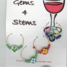 Flowered Wine Charm Charms Markers : Blue, Red, White, Yellow