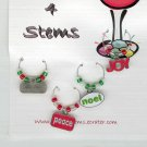 Christmas Themed Wine Charm Charms Markers: Set of 4