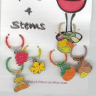 6 Beaded Fall Wine Glass Charm Charms Markers: Fall or Thanksgiving