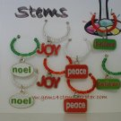 Christmas Themed Wine Charm Charms Markers: Set of 8