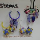 Purple Beaded Wine Charm Charms Markers: Set of 4