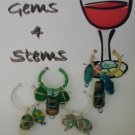 Green Beaded Wine Charm Charms Markers: Set of 4