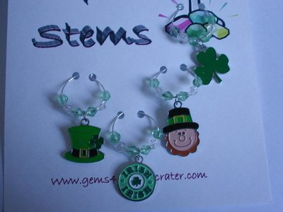 Set of 4 St Patrick's Wine Glass Charm Shamrock Marker