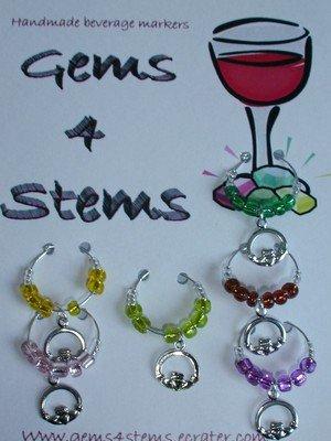 Set of 6 St Patrick's Wine Glass Charm claddagh Marker