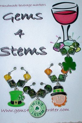 Set of 4 St Patrick's Wine Glass Charm Shamrock Marker