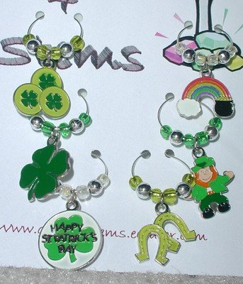 Set of 6 St Patrick's Wine Glass Charm Shamrock Marker