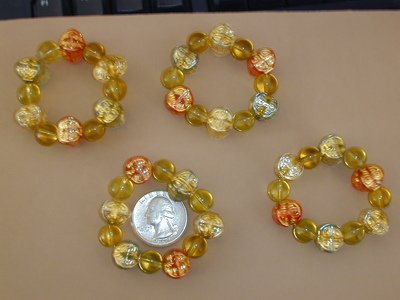 Hand beaded Napkin Rings Gold Red Blue Set of 4