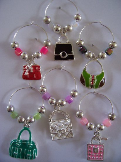Handbag Purse  Wine Glass Charms Beverage Markers