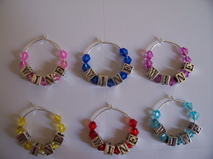 Set of 6 WINE Wine Glass Charms Beverage Markers