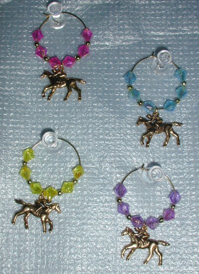 Goldtone Horseracing Wine Glass Charms Beverage Markers