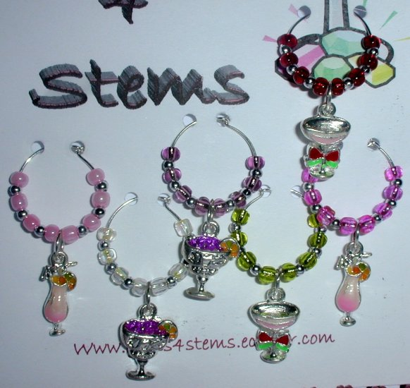 6 Cocktail Beverage Wine Glass Charms Marker
